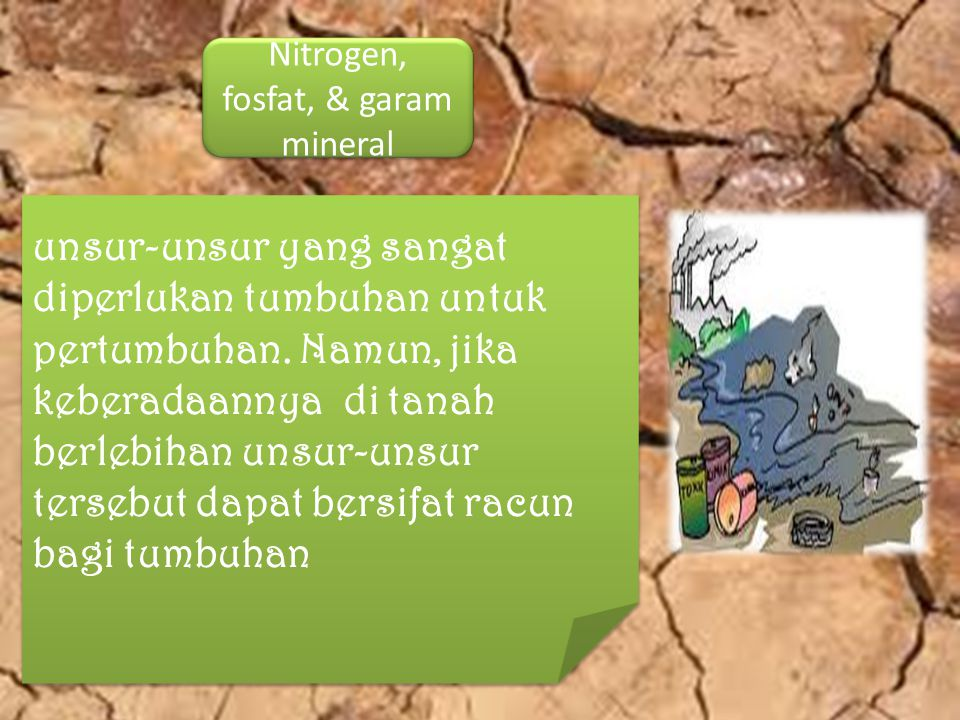 Sumber polutan utama di tanah adalah Kegiatan pertanian.