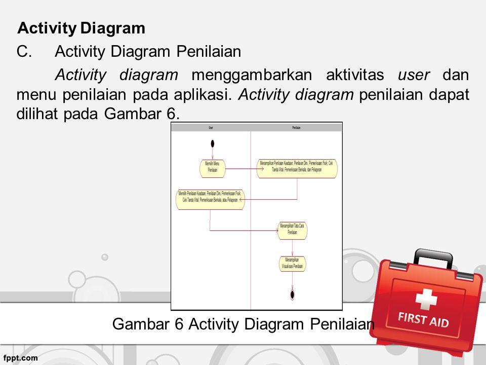 Activity Diagram C.Activity Diagram Penilaian Activity diagram menggambarkan aktivitas user dan menu penilaian pada aplikasi. Activity diagram penilai