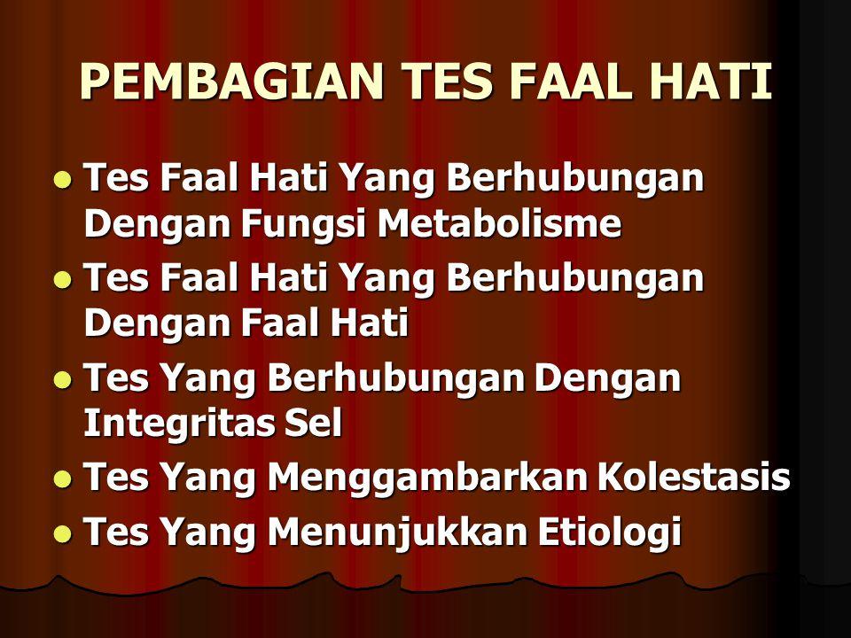 PEMBAGIAN TES FAAL HATI Tes Faal Hati Yang Berhubungan Dengan Fungsi Metabolisme Tes Faal Hati Yang Berhubungan Dengan Fungsi Metabolisme Tes Faal Hat