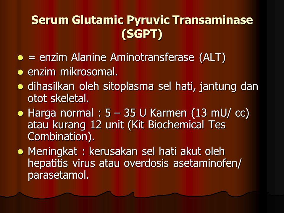 Serum Glutamic Pyruvic Transaminase (SGPT) = enzim Alanine Aminotransferase (ALT) = enzim Alanine Aminotransferase (ALT) enzim mikrosomal. enzim mikro