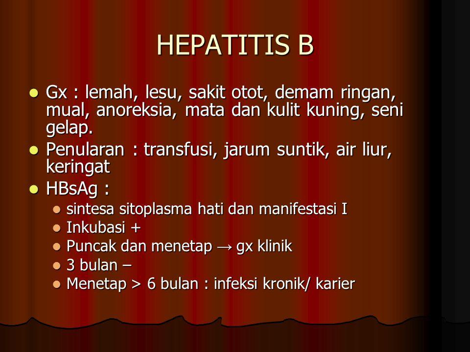 HEPATITIS B Gx : lemah, lesu, sakit otot, demam ringan, mual, anoreksia, mata dan kulit kuning, seni gelap. Gx : lemah, lesu, sakit otot, demam ringan