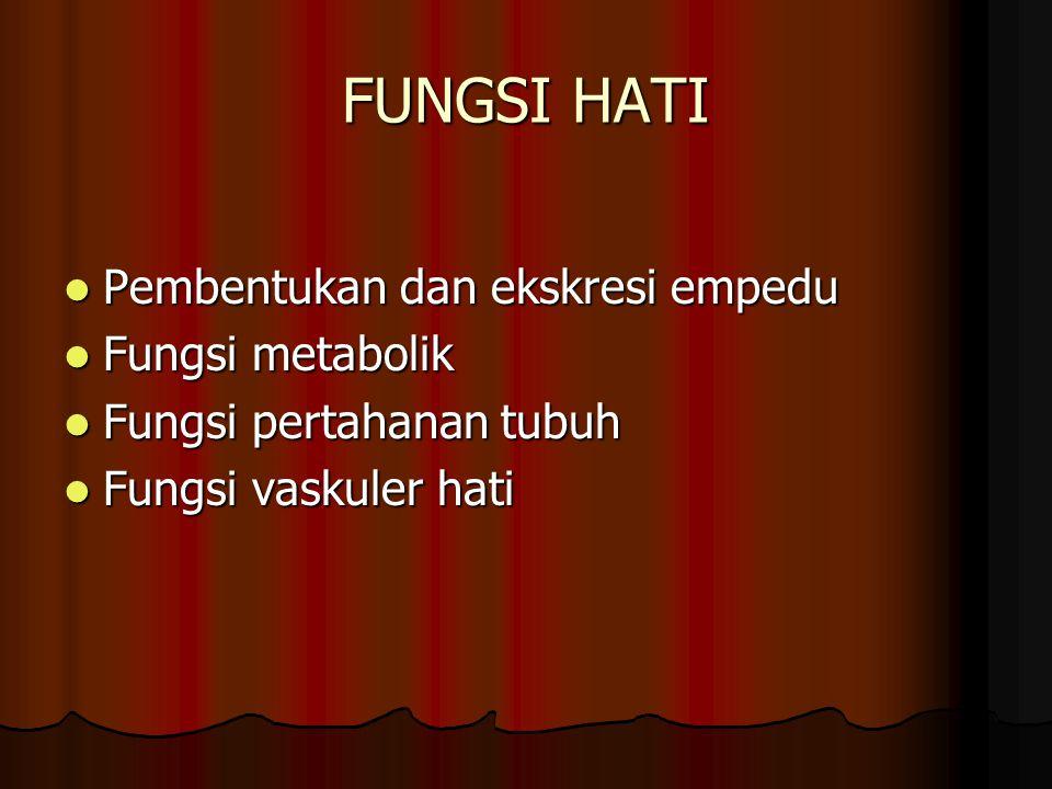 FUNGSI HATI Pembentukan dan ekskresi empedu Pembentukan dan ekskresi empedu Fungsi metabolik Fungsi metabolik Fungsi pertahanan tubuh Fungsi pertahana