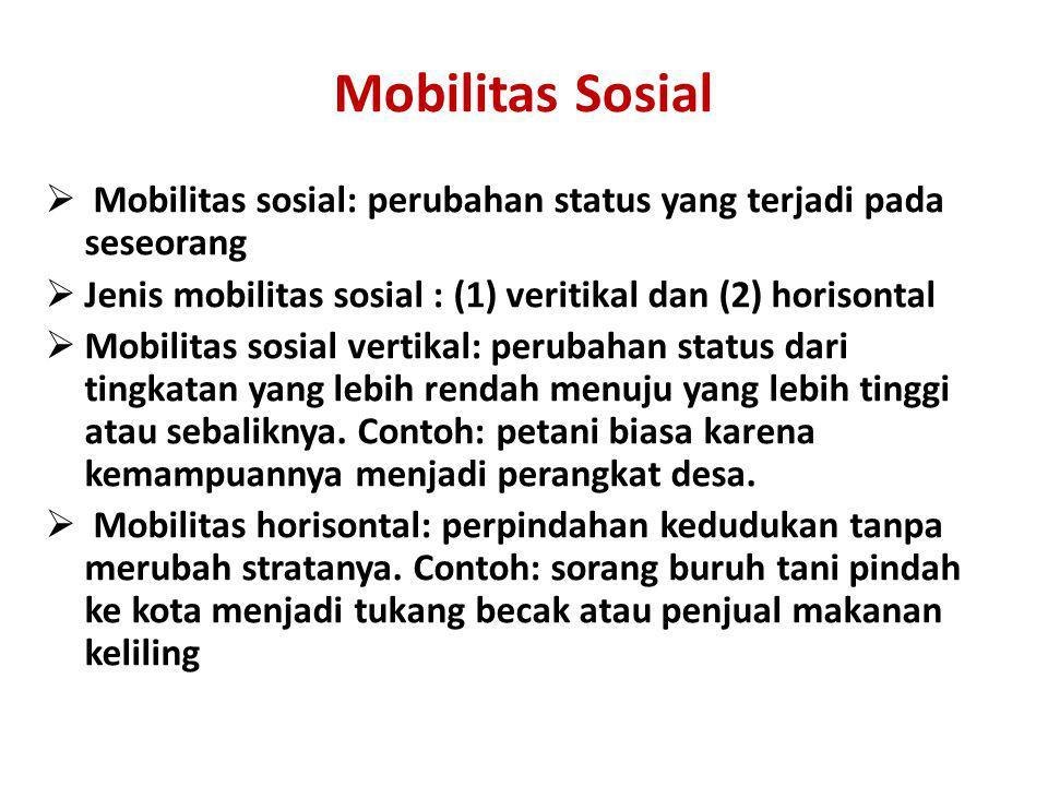 Mobilitas Sosial  Mobilitas sosial: perubahan status yang terjadi pada seseorang  Jenis mobilitas sosial : (1) veritikal dan (2) horisontal  Mobili