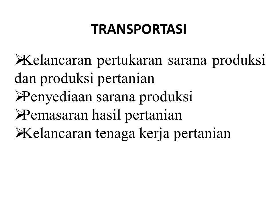  Kelancaran pertukaran sarana produksi dan produksi pertanian  Penyediaan sarana produksi  Pemasaran hasil pertanian  Kelancaran tenaga kerja pert