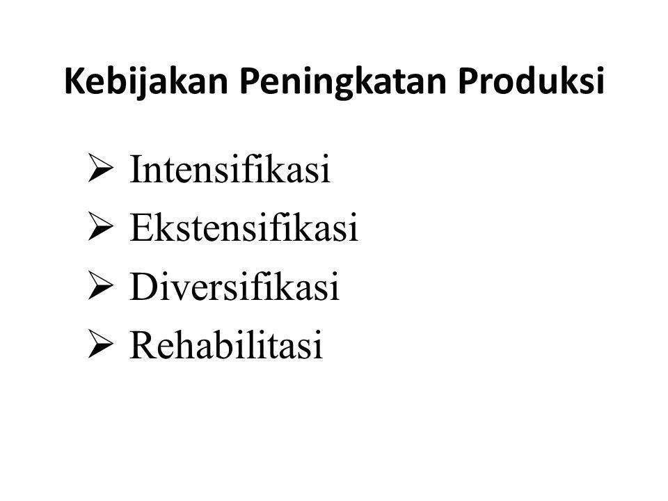 Kebijakan Peningkatan Produksi  Intensifikasi  Ekstensifikasi  Diversifikasi  Rehabilitasi