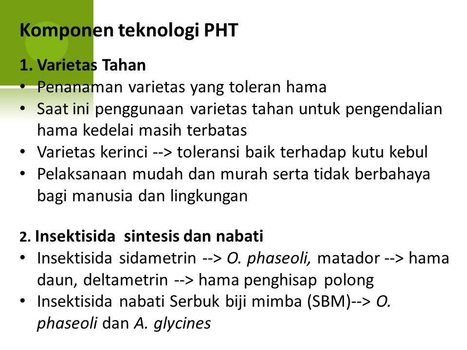 Komponen teknologi PHT 1.Varietas Tahan Penanaman varietas yang toleran hama Saat ini penggunaan varietas tahan untuk pengendalian hama kedelai masih