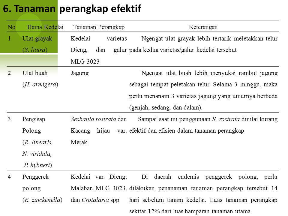 6. Tanaman perangkap efektif NoHama KedelaiTanaman PerangkapKeterangan 1 Ulat grayak (S. litura) Kedelai varietas Dieng, dan galur MLG 3023 Ngengat ul