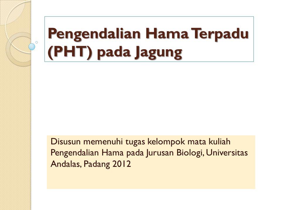 Pengendalian Hama Terpadu (PHT) pada Jagung Disusun memenuhi tugas kelompok mata kuliah Pengendalian Hama pada Jurusan Biologi, Universitas Andalas, P