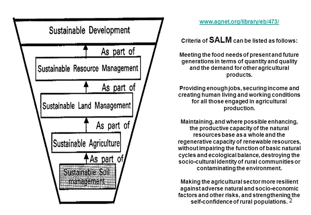 2 www.agnet.org/library/eb/473/ Criteria of SALM can be listed as follows: Meeting the food needs of present and future generations in terms of quantity and quality and the demand for other agricultural products.