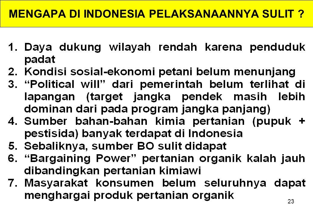 23 MENGAPA DI INDONESIA PELAKSANAANNYA SULIT ?
