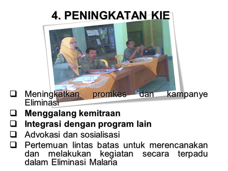 4. PENINGKATAN KIE  Meningkatkan promkes dan kampanye Eliminasi  Menggalang kemitraan  Integrasi dengan program lain  Advokasi dan sosialisasi  P