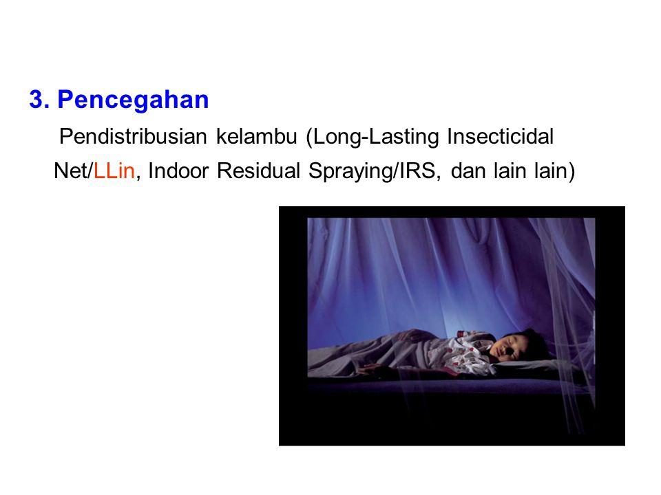 3. Pencegahan Pendistribusian kelambu (Long-Lasting Insecticidal Net/LLin, Indoor Residual Spraying/IRS, dan lain lain)