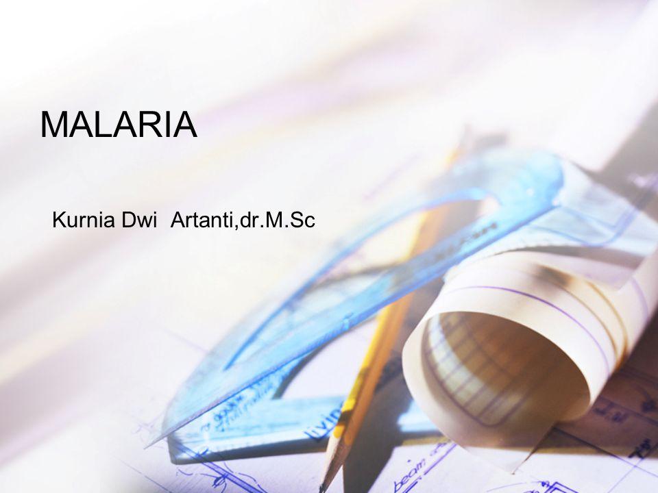 PENDAHULUAN Malaria msh mrpkn masalah kesehatan masyarakat di Indonesia Angka morbiditas dan mortalitas masih tinggi terutama di daerah luar jawa Malaria sudah dikenal sejak 3000 tahun yang lalu Alphonse Laveran(1880) menemukan plasmodium sebagai penyebab malaria Ross(1897) menemukan perantara malaria adalah nyamuk anopheles
