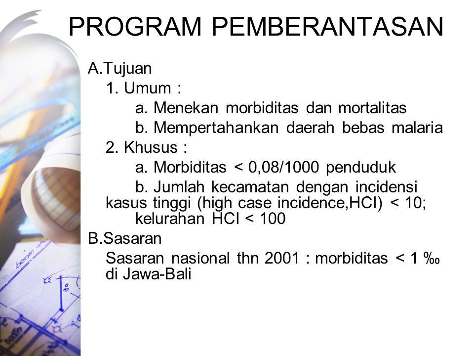 PROGRAM PEMBERANTASAN A.Tujuan 1.Umum : a. Menekan morbiditas dan mortalitas b.
