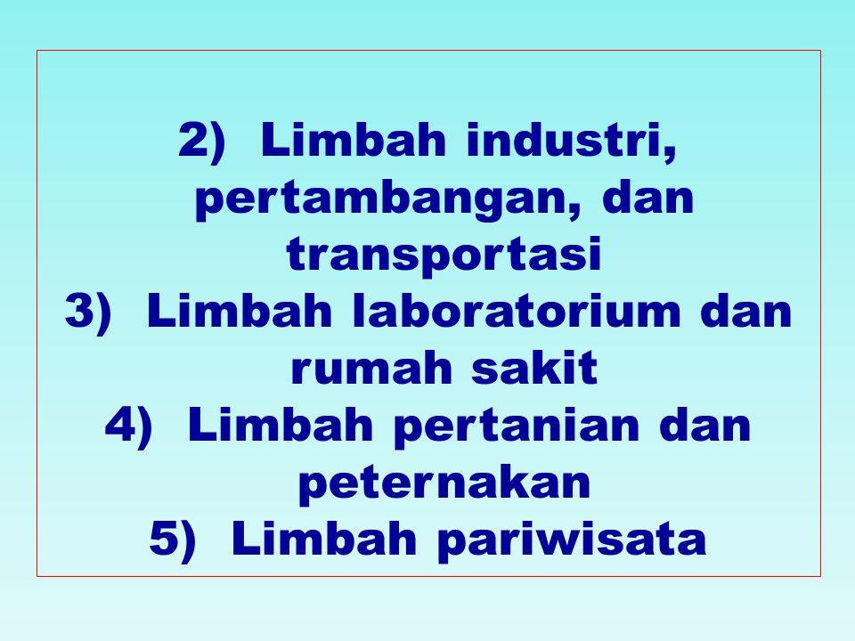 2) Limbah industri, pertambangan, dan transportasi 3) Limbah laboratorium dan rumah sakit 4) Limbah pertanian dan peternakan 5) Limbah pariwisata