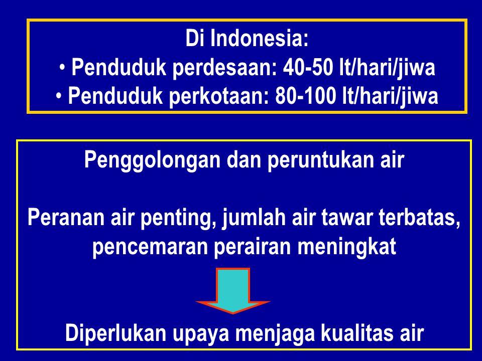 Di Indonesia: Penduduk perdesaan: 40-50 lt/hari/jiwa Penduduk perkotaan: 80-100 lt/hari/jiwa Penggolongan dan peruntukan air Peranan air penting, jumlah air tawar terbatas, pencemaran perairan meningkat Diperlukan upaya menjaga kualitas air