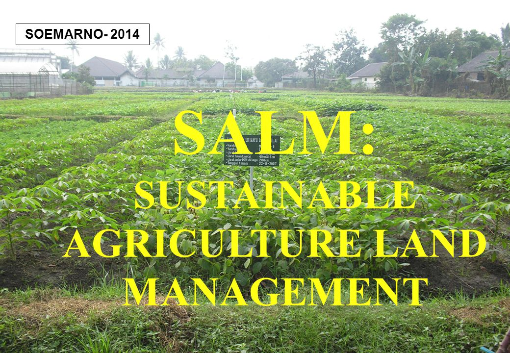 1 SALM: SUSTAINABLE AGRICULTURE LAND MANAGEMENT SOEMARNO- 2014
