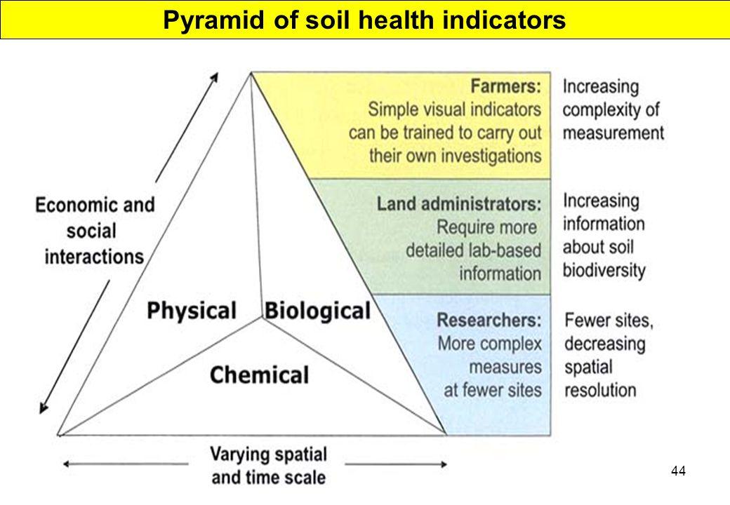 44 Pyramid of soil health indicators