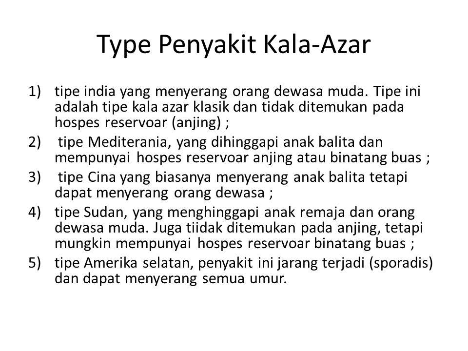 Type Penyakit Kala-Azar 1)tipe india yang menyerang orang dewasa muda. Tipe ini adalah tipe kala azar klasik dan tidak ditemukan pada hospes reservoar