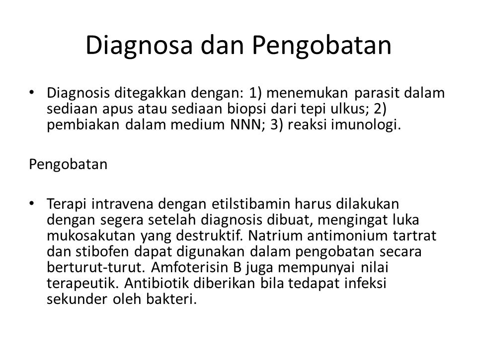 Diagnosa dan Pengobatan Diagnosis ditegakkan dengan: 1) menemukan parasit dalam sediaan apus atau sediaan biopsi dari tepi ulkus; 2) pembiakan dalam m