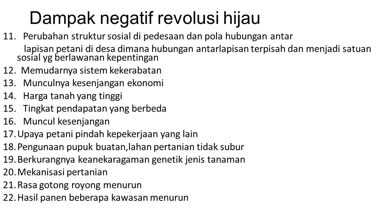 Dampak negatif revolusi hijau 11.