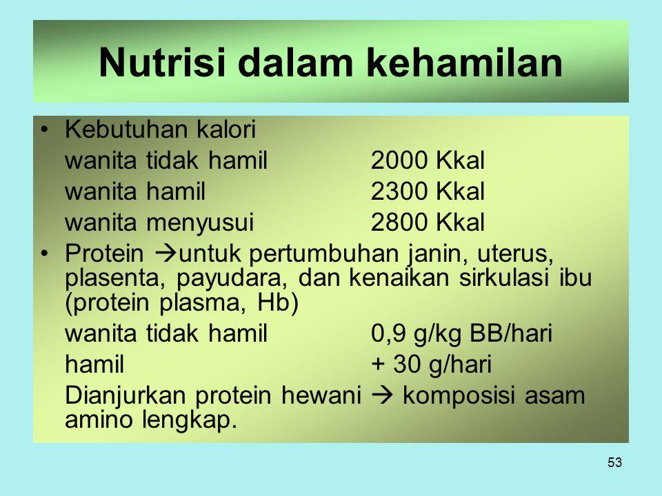 53 Nutrisi dalam kehamilan Kebutuhan kalori wanita tidak hamil2000 Kkal wanita hamil2300 Kkal wanita menyusui2800 Kkal Protein  untuk pertumbuhan jan