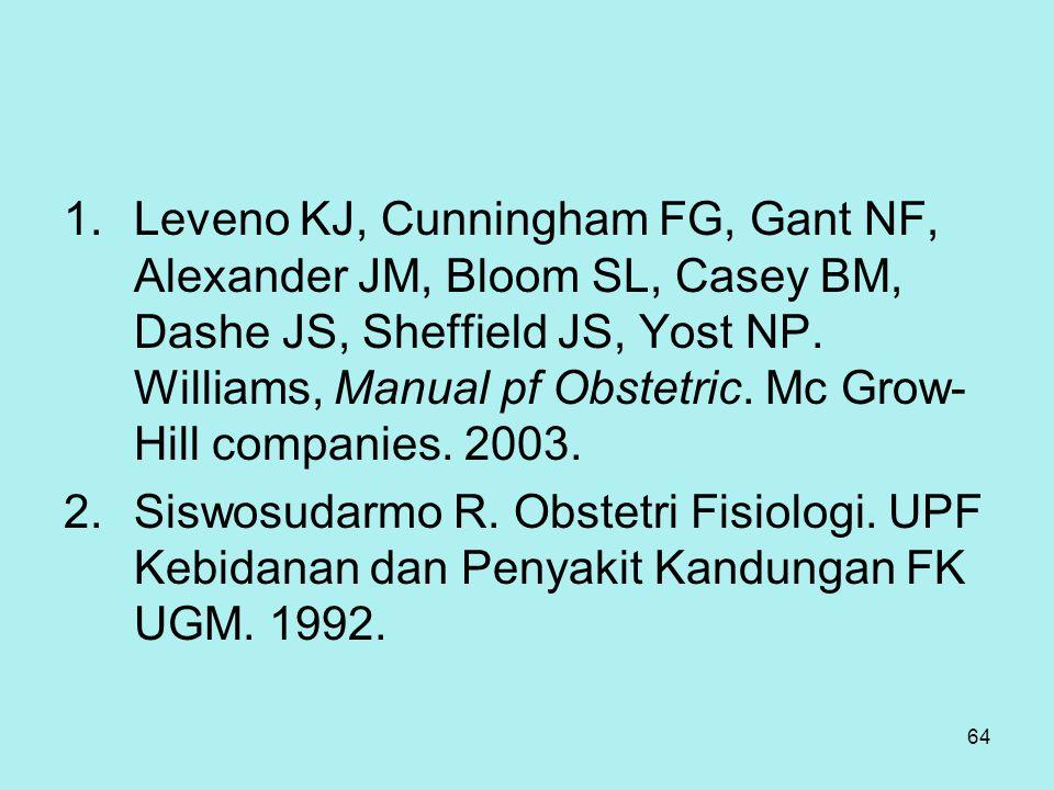 64 1.Leveno KJ, Cunningham FG, Gant NF, Alexander JM, Bloom SL, Casey BM, Dashe JS, Sheffield JS, Yost NP. Williams, Manual pf Obstetric. Mc Grow- Hil