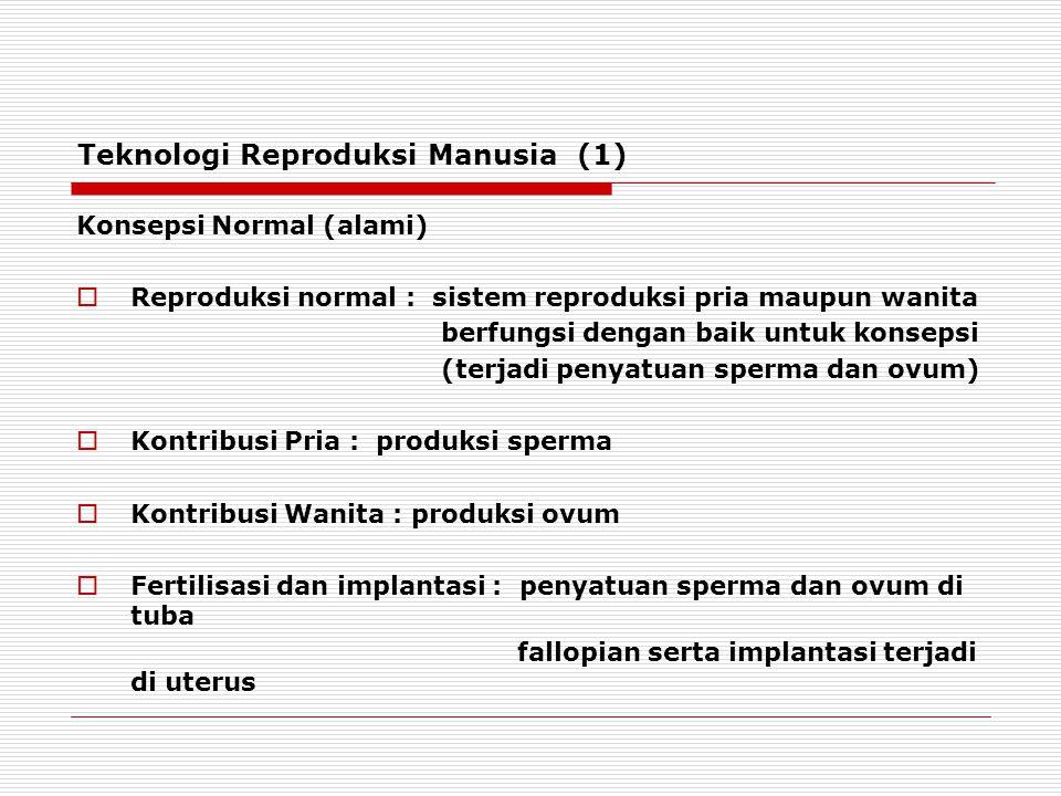 Teknologi Reproduksi Manusia (1) Konsepsi Normal (alami)  Reproduksi normal : sistem reproduksi pria maupun wanita berfungsi dengan baik untuk konsepsi (terjadi penyatuan sperma dan ovum)  Kontribusi Pria : produksi sperma  Kontribusi Wanita : produksi ovum  Fertilisasi dan implantasi : penyatuan sperma dan ovum di tuba fallopian serta implantasi terjadi di uterus