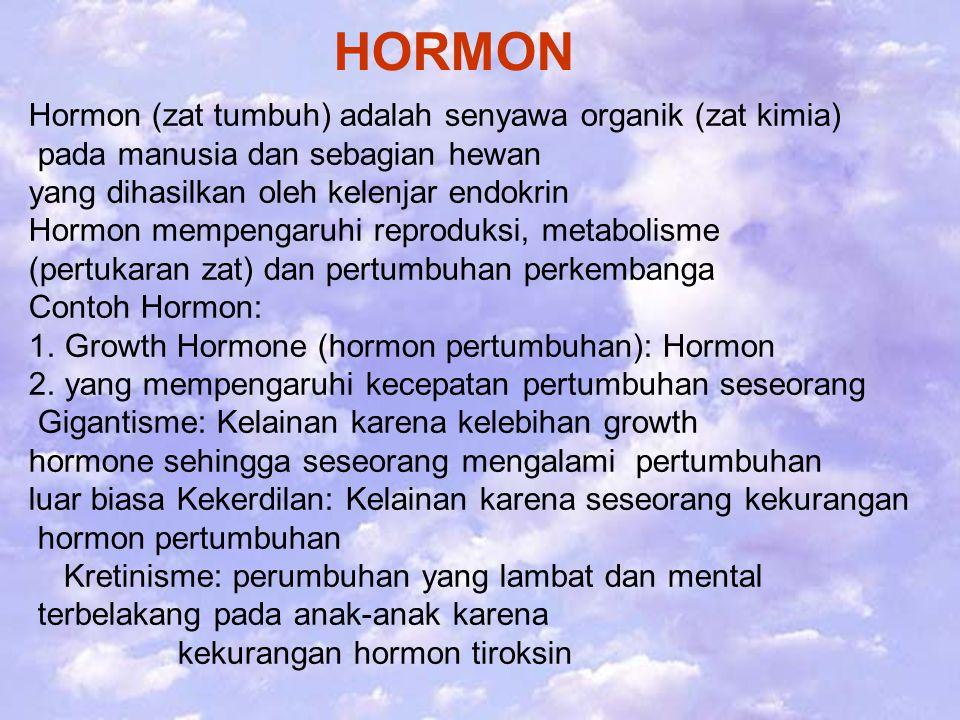 HORMON Hormon (zat tumbuh) adalah senyawa organik (zat kimia) pada manusia dan sebagian hewan yang dihasilkan oleh kelenjar endokrin Hormon mempengaruhi reproduksi, metabolisme (pertukaran zat) dan pertumbuhan perkembanga Contoh Hormon: 1.Growth Hormone (hormon pertumbuhan): Hormon 2.yang mempengaruhi kecepatan pertumbuhan seseorang Gigantisme: Kelainan karena kelebihan growth hormone sehingga seseorang mengalami pertumbuhan luar biasa Kekerdilan: Kelainan karena seseorang kekurangan hormon pertumbuhan Kretinisme: perumbuhan yang lambat dan mental terbelakang pada anak-anak karena kekurangan hormon tiroksin