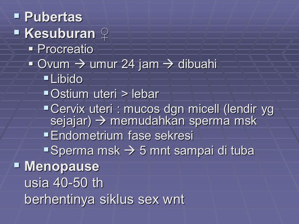  Pubertas  Kesuburan ♀  Procreatio  Ovum  umur 24 jam  dibuahi  Libido  Ostium uteri > lebar  Cervix uteri : mucos dgn micell (lendir yg seja