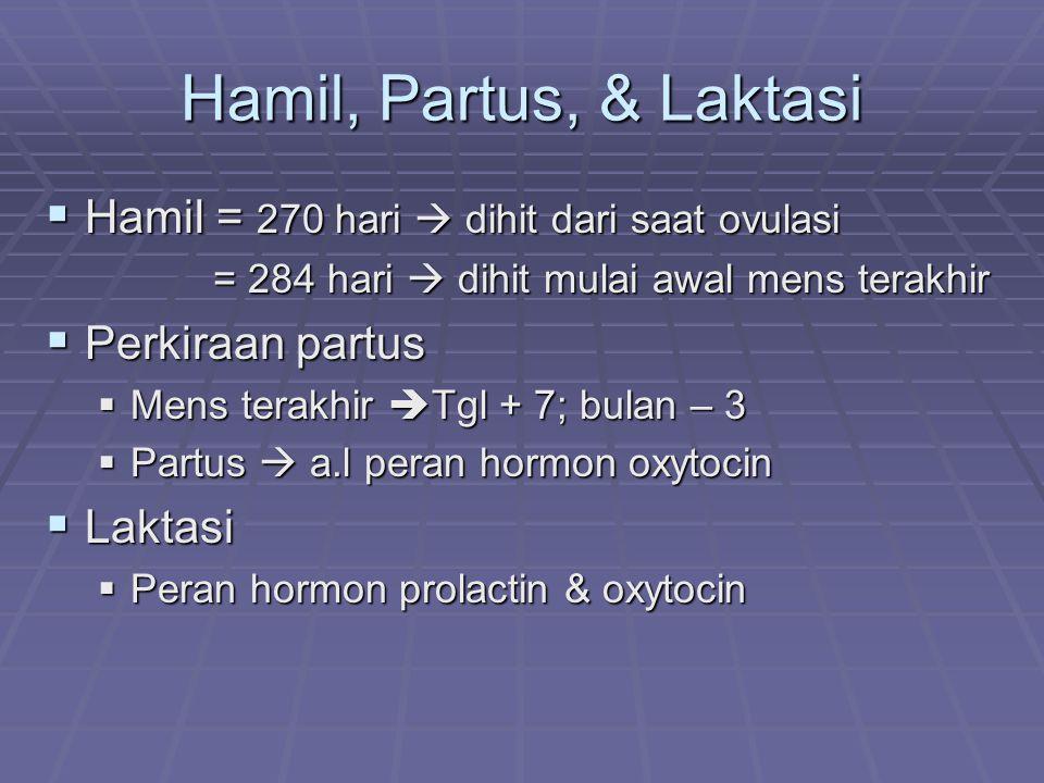 Hamil, Partus, & Laktasi  Hamil = 270 hari  dihit dari saat ovulasi = 284 hari  dihit mulai awal mens terakhir = 284 hari  dihit mulai awal mens t