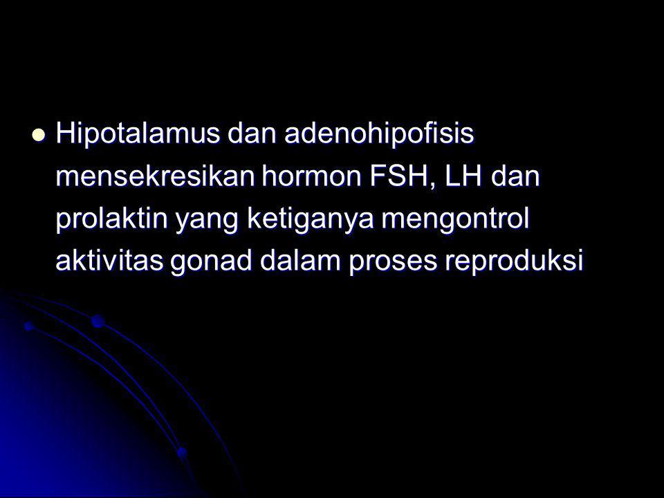Hipotalamus dan adenohipofisis mensekresikan hormon FSH, LH dan prolaktin yang ketiganya mengontrol aktivitas gonad dalam proses reproduksi Hipotalamu