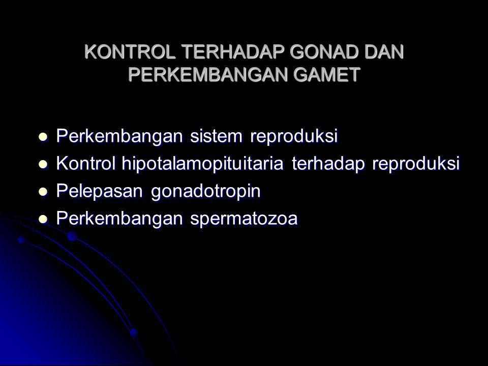 KONTROL TERHADAP GONAD DAN PERKEMBANGAN GAMET Perkembangan sistem reproduksi Perkembangan sistem reproduksi Kontrol hipotalamopituitaria terhadap repr