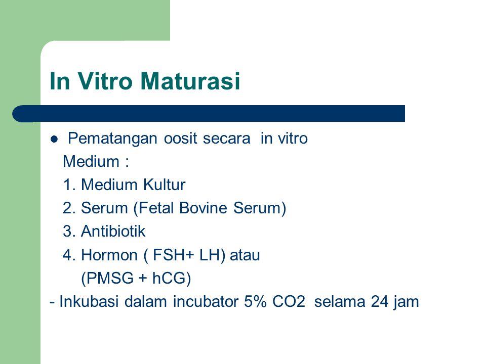 In Vitro Maturasi Pematangan oosit secara in vitro Medium : 1.