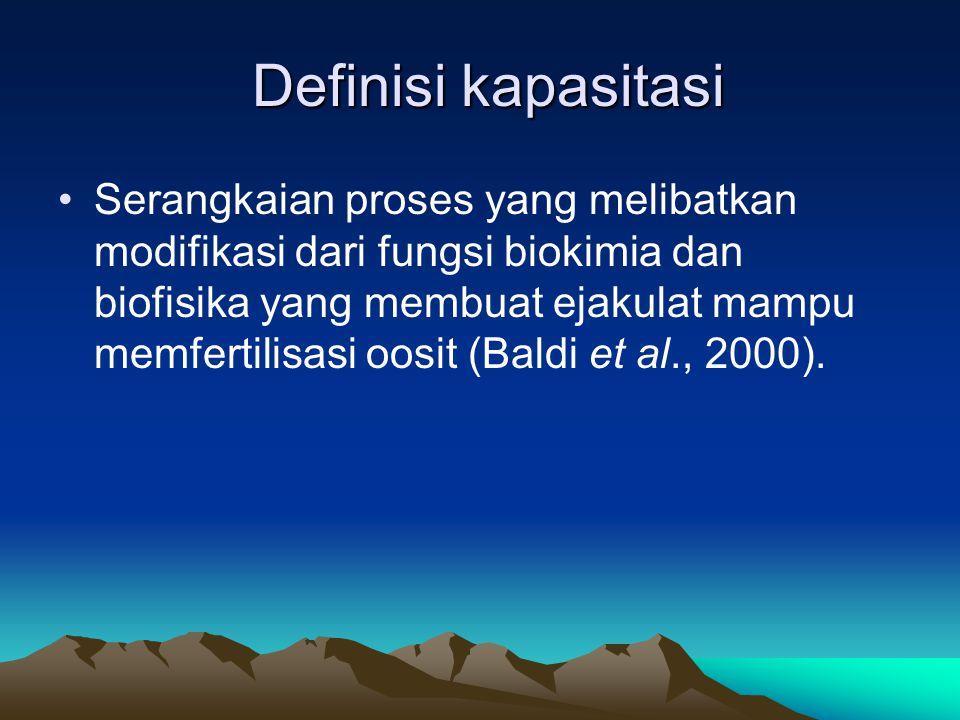 Definisi kapasitasi Definisi kapasitasi Serangkaian proses yang melibatkan modifikasi dari fungsi biokimia dan biofisika yang membuat ejakulat mampu memfertilisasi oosit (Baldi et al., 2000).