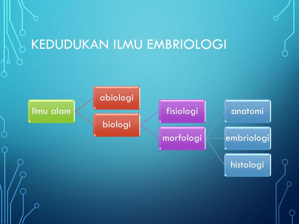 KEDUDUKAN ILMU EMBRIOLOGI Ilmu alamabiologibiologifisiologimorfologianatomiembriologihistologi