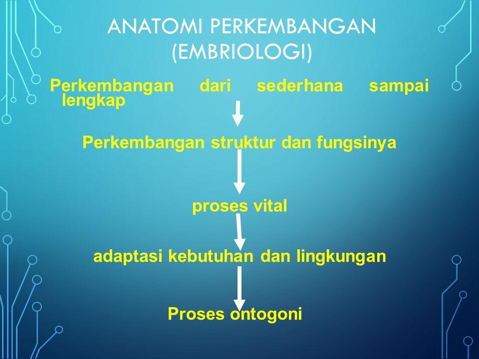 ANATOMI PERKEMBANGAN (EMBRIOLOGI) Perkembangan dari sederhana sampai lengkap Perkembangan struktur dan fungsinya proses vital adaptasi kebutuhan dan lingkungan Proses ontogoni