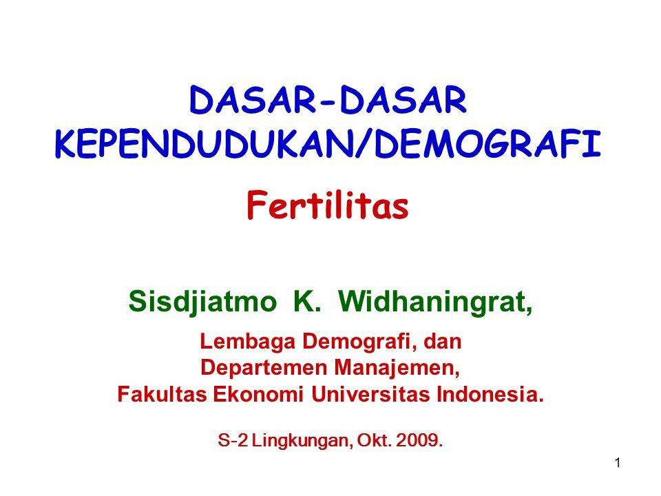 1 DASAR-DASAR KEPENDUDUKAN/DEMOGRAFI Fertilitas Sisdjiatmo K. Widhaningrat, Lembaga Demografi, dan Departemen Manajemen, Fakultas Ekonomi Universitas