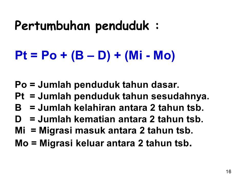 16 Pertumbuhan penduduk : Pt = Po + (B – D) + (Mi - Mo) Po = Jumlah penduduk tahun dasar. Pt = Jumlah penduduk tahun sesudahnya. B = Jumlah kelahiran