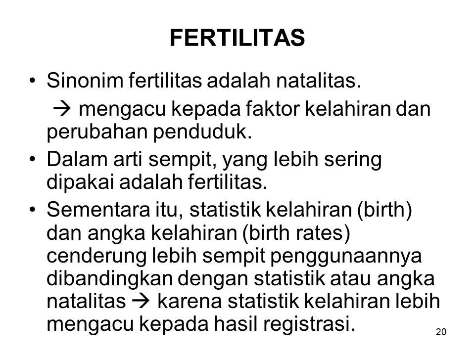 20 FERTILITAS Sinonim fertilitas adalah natalitas.  mengacu kepada faktor kelahiran dan perubahan penduduk. Dalam arti sempit, yang lebih sering dipa