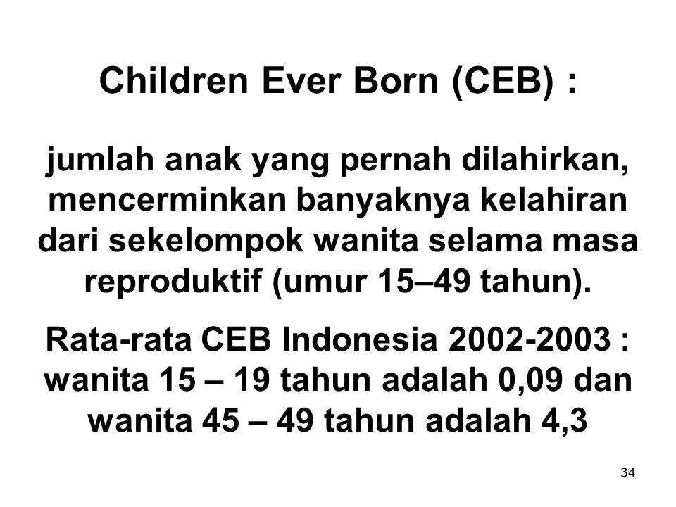 34 Children Ever Born (CEB) : jumlah anak yang pernah dilahirkan, mencerminkan banyaknya kelahiran dari sekelompok wanita selama masa reproduktif (umu