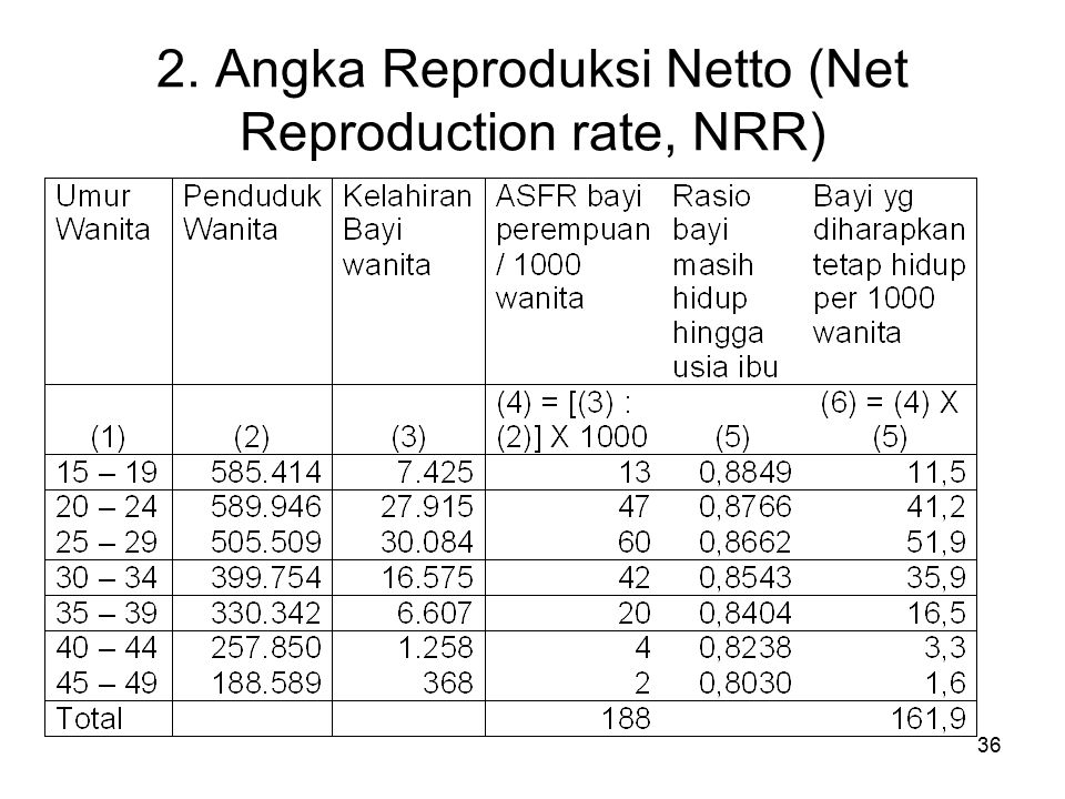 36 2. Angka Reproduksi Netto (Net Reproduction rate, NRR)