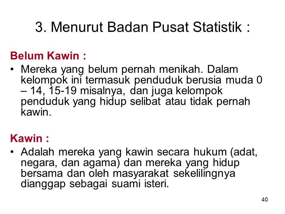 40 3. Menurut Badan Pusat Statistik : Belum Kawin : Mereka yang belum pernah menikah. Dalam kelompok ini termasuk penduduk berusia muda 0 – 14, 15-19