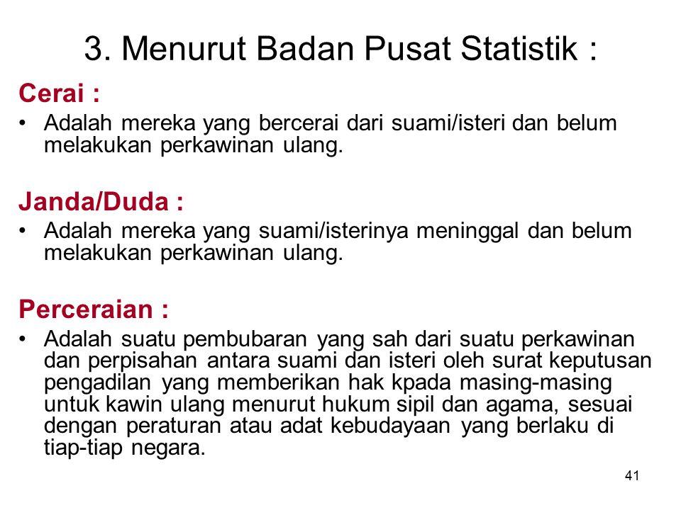 41 3. Menurut Badan Pusat Statistik : Cerai : Adalah mereka yang bercerai dari suami/isteri dan belum melakukan perkawinan ulang. Janda/Duda : Adalah