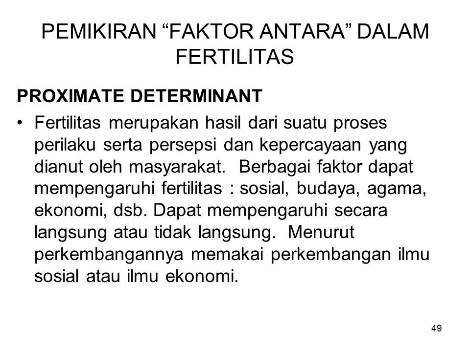 """49 PEMIKIRAN """"FAKTOR ANTARA"""" DALAM FERTILITAS PROXIMATE DETERMINANT Fertilitas merupakan hasil dari suatu proses perilaku serta persepsi dan kepercaya"""
