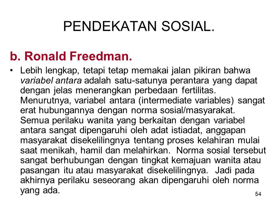 54 PENDEKATAN SOSIAL. b. Ronald Freedman. Lebih lengkap, tetapi tetap memakai jalan pikiran bahwa variabel antara adalah satu-satunya perantara yang d