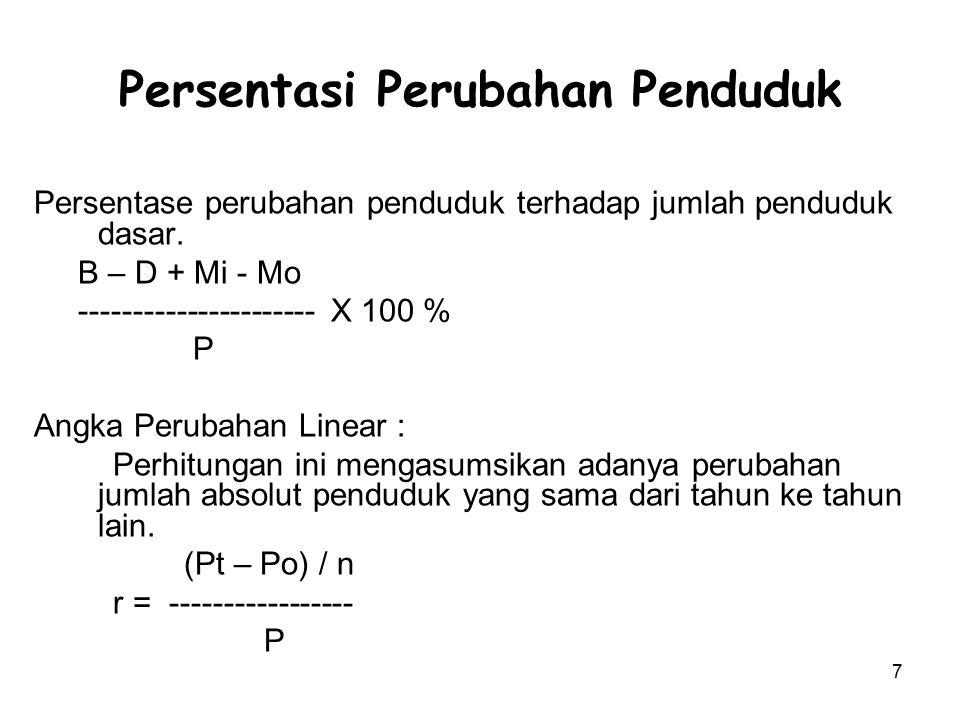 7 Persentasi Perubahan Penduduk Persentase perubahan penduduk terhadap jumlah penduduk dasar. B – D + Mi - Mo ---------------------- X 100 % P Angka P