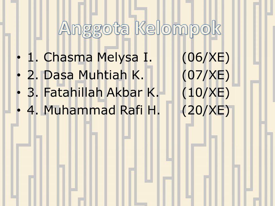 1. Chasma Melysa I. (06/XE) 2. Dasa Muhtiah K.(07/XE) 3. Fatahillah Akbar K.(10/XE) 4. Muhammad Rafi H.(20/XE)
