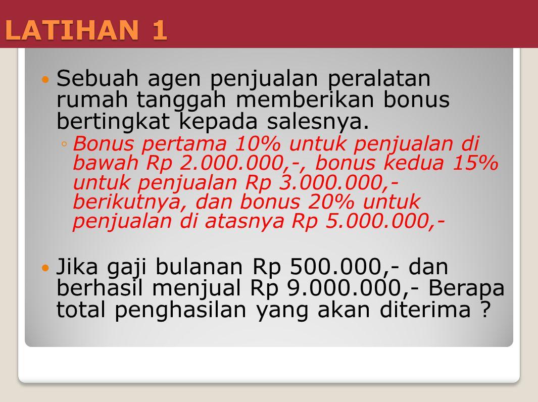 LATIHAN 3 Sebuah toko memberikan upah mingguan pada karyawannya, dengan ketentuan sebagai berikut : ◦Satu minggu 6 hari kerja.