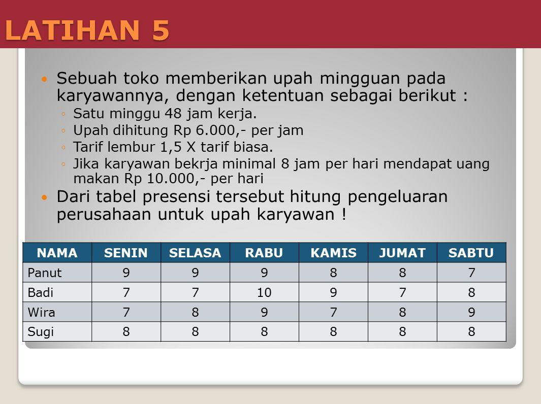 LATIHAN 5 Sebuah toko memberikan upah mingguan pada karyawannya, dengan ketentuan sebagai berikut : ◦Satu minggu 48 jam kerja. ◦Upah dihitung Rp 6.000